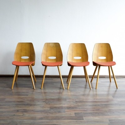 Set of 4 Tatra Nabytok Pravenec dining chairs, 1960s