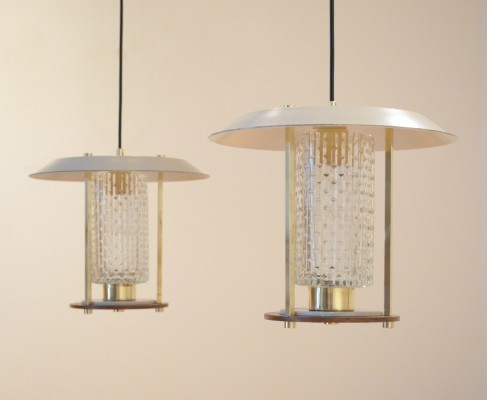 Set of 2 hanging lamps from the fifties by unknown designer for unknown producer