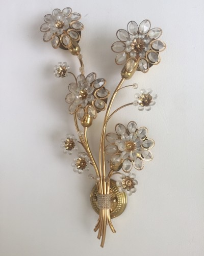 Large Palwa Sconce Wall Light, Gilt Brass Crystal Glass, 1960s