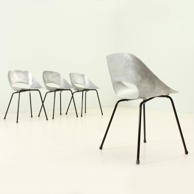 Set of Four Aluminium Tulip Chairs by Pierre Guariche, 1950s