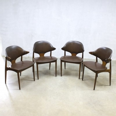 Set of 4 Cowhorn dinner chairs from the fifties by unknown designer for Mahjongg Vlaardingen