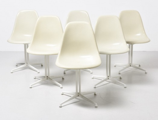 Set of 6 DSW - La Fonda base dinner chairs from the sixties by Charles & Ray Eames for Vitra