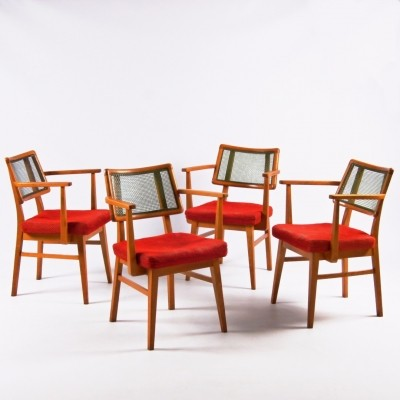 Set of 4 ÚLUV Praha dinner chairs, 1960s