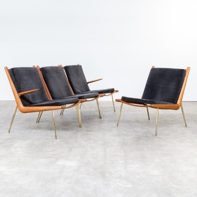 Set of 4 Boomerang - FD135 lounge chairs by Peter Hvidt & Orla Mølgaard Nielsen for France & Son, 1960s