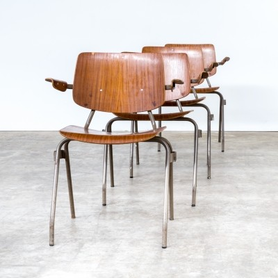 Set of 4 arm chairs by Kho Liang Ie for CAR Industry Katwijk, 1960s