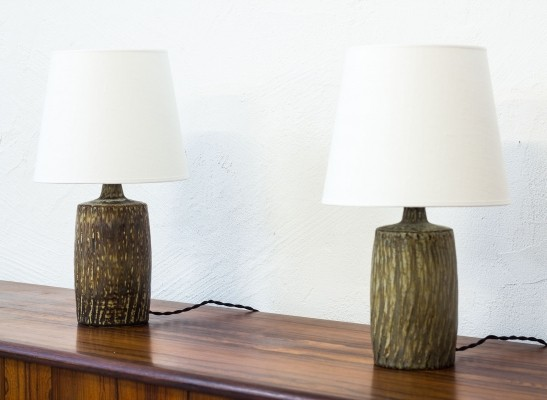 Pair of Rubus serie desk lamps by Gunnar Nylund for Rörstrand, 1950s
