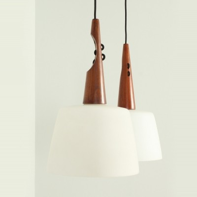 Pair of Ceiling Lamps in Teak & Opaline Glass, 1950s