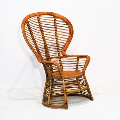Bamboo wing back chair, 1950s