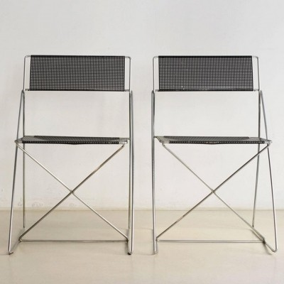 Set of 2 X-Line dinner chairs from the seventies by Niels Jørgen Haugesen for Magis
