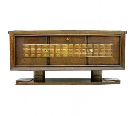 Brutalist Credenza Sideboard by Charles Dudouyt, France circa 1940s