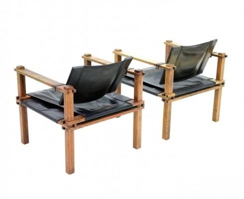 Set of 2 Farmer Safari Chair lounge chairs from the sixties by Gerd Lange for Bofinger