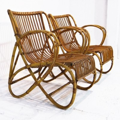Set of 2 lounge chairs from the fifties by unknown designer for Rohé Noordwolde