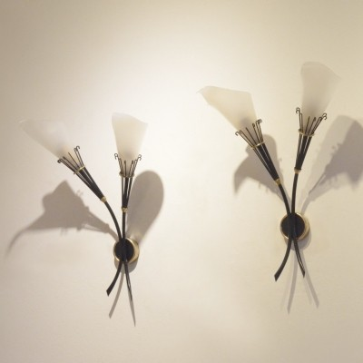 Pair of Maison Arlus wall lamps, 1950s
