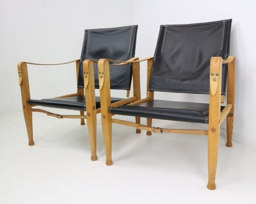Pair of Black Leather 'Safari' Armchairs by Kaare Klint, 1950s