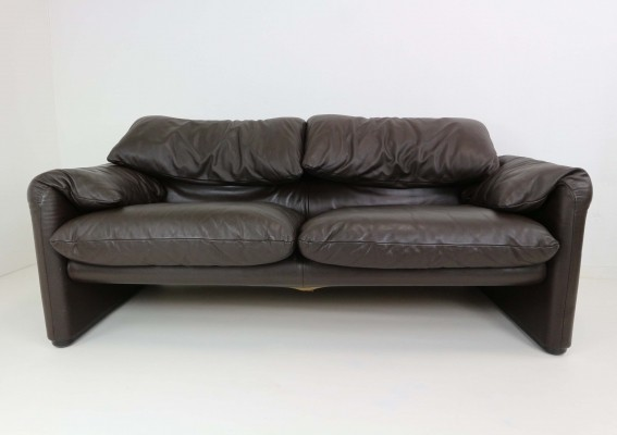 Leather Two-Seat Maralunga by Vico Magistretti for Cassina