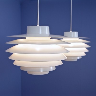 Set of 2 Verona 400 hanging lamps from the sixties by Sven Middelboe for Nordisk Solar