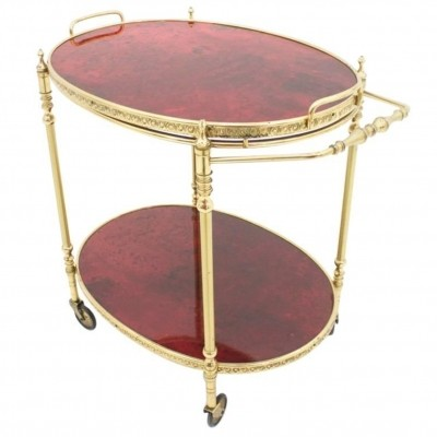 Aldo Tura Bar Cart in Red Goatskin & Brass, Italy 1960s