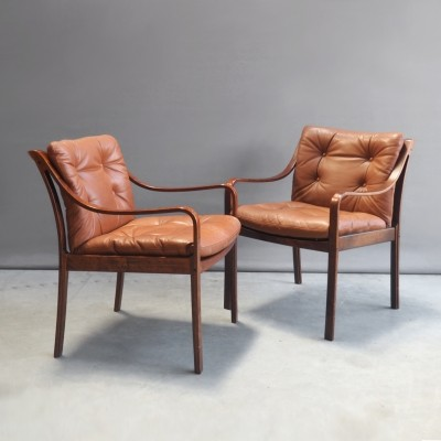 Set of 2 Model 108 lounge chairs from the seventies by Fredrik Kayser for Vatne Lenestolfabrik