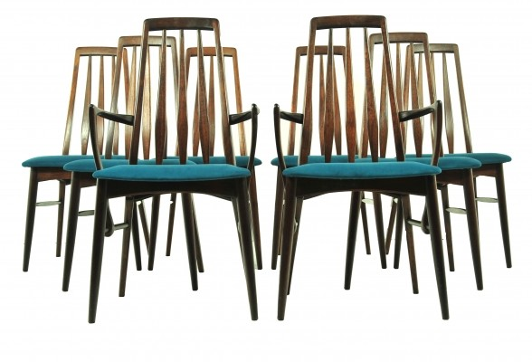 Set of 8 Eva dining chairs by Niels Koefoed for Koefoeds Hornslet, 1960s