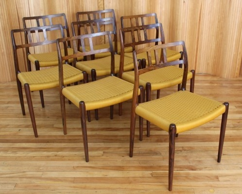 Set of 8 Model 79 dinner chairs from the sixties by Niels O. Møller for J L Møller