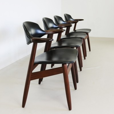 Set of 4 Propos series / Cowhorn dinner chairs from the sixties by unknown designer for Hulmefa
