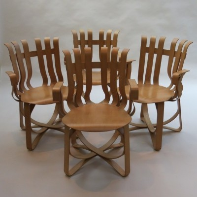 Set of 4 Hat Trick dinner chairs by Frank Gehry for Knoll, 1990s