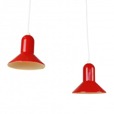 Pair of red Lyskaer Belysning trumpet pendants, 1970s