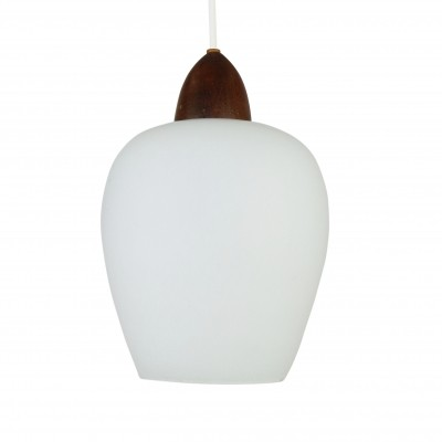 Scandinavian milk glass & teak pendant, 1960s
