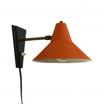 Orange red & black wall light, 1950s