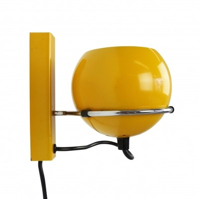 Yellow ball wall light, 1970s