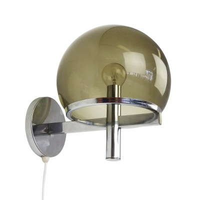 Smoked glass & chrome globe wall light, 1970s