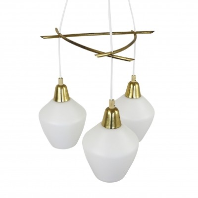 Scandinavian chandelier with milk glass shades & messing details, 1960s