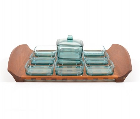 Mid Century danish Teak Tablet with Glass Bowls, 1950s