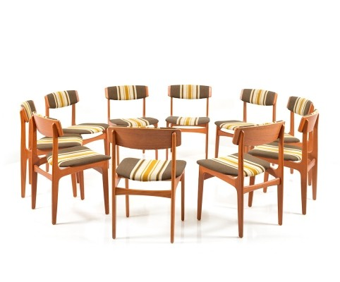 Rare Set of 10 danish Dinner Chairs by Thorsø Stolefabrik, 1960s
