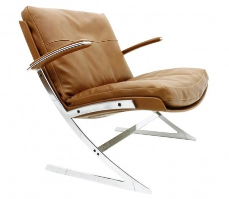 Lounge Chair in Leather & Steel by Preben Fabricius for Arnold Exclusiv, 1972