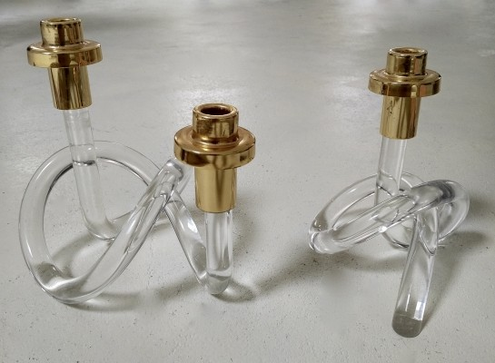 A pair of Dorothy Thorpe gold & lucite Pretzel Candleholders, 1950s