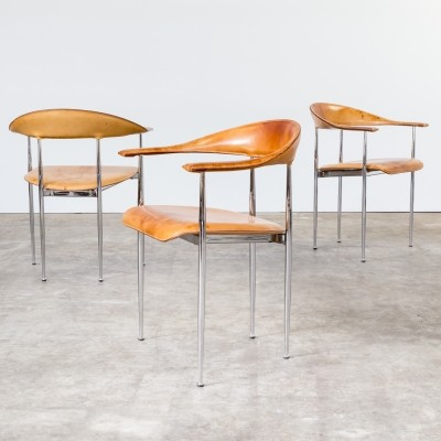 Set of 3 dining chairs by Giancarlo Vegni & G. Gualtierotti for Fasem, 1980s