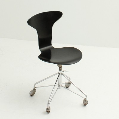 Arne Jacobsen 3115 or Mosquito Chair in Black Lacquered Wood, 1950s