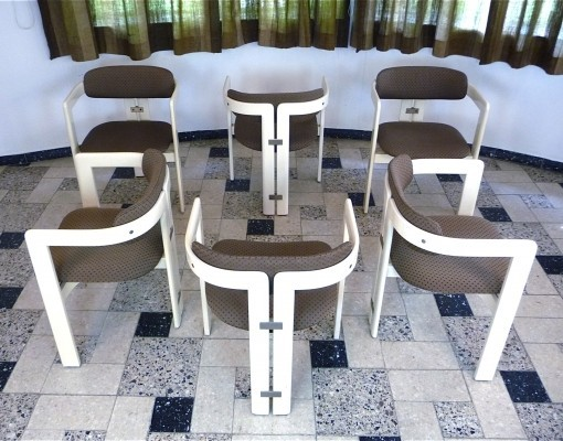 Set of 6 Pamplona dinner chairs from the sixties by Augusto Savini for Pozzi