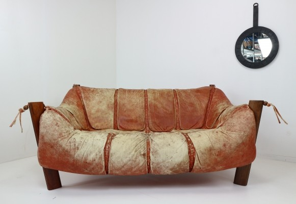Two-Seat Sofa MP-211 Design by Percival Lafer in Wood & Leather, 1974