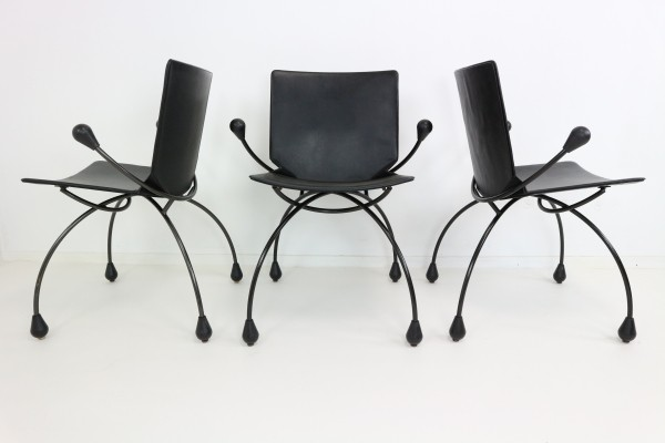 Funky Black Leather Dining Chairs, 1980s