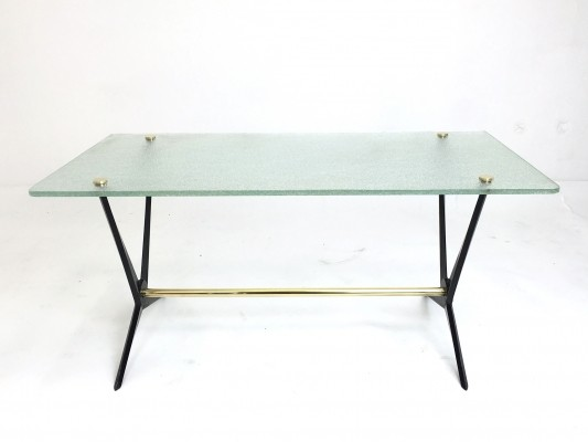 Black Cast Iron & Brass Side Table by Angelo Ostuni, 1950s