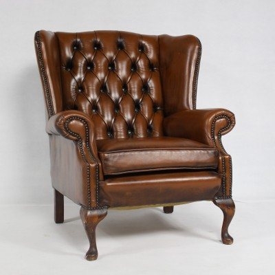 Chesterfield Leather Wing Back Chair, Imperial England 1970s