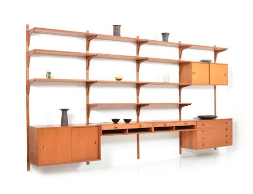 Exclusive & Rare Teak Wall Unit by Rud Thygesen & Johnny Sørensen, 1960s