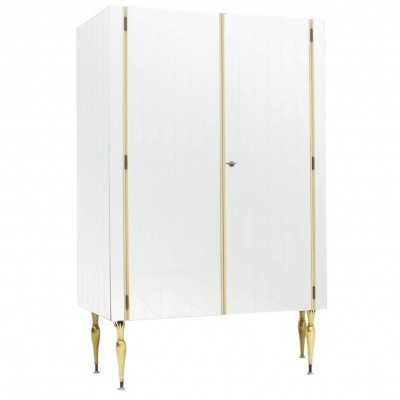 Fully Front Mirrored Asymmetric Wardrobe with Brass Legs, Germany 1960s