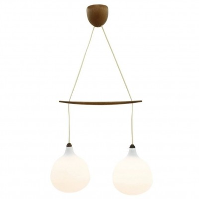 Luxus Glass & Teak Pendant by Uno & Osten Kristiansson, Sweden 1960s