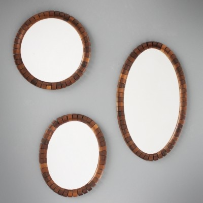 Three decorated Scandinavian rosewood mirrors, 1960s