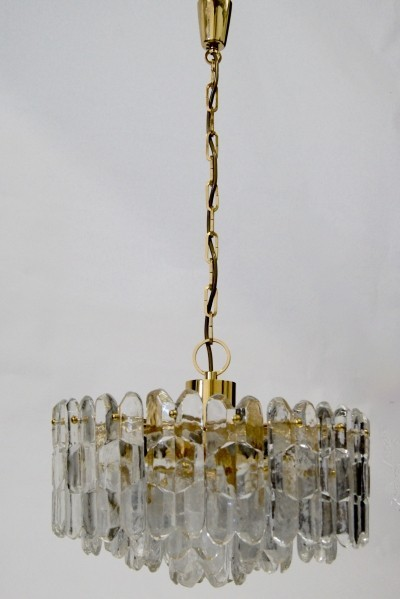 Kalmar gold plated & ice glass chandelier, 1960s
