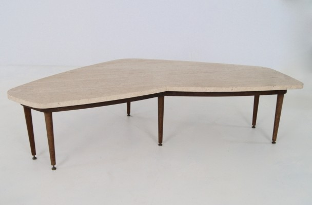 Italian free form low table with travertine top, 1950s