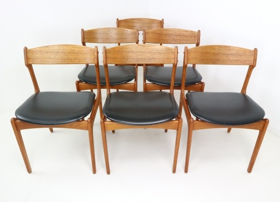 Set of Six Danish Teak Dining Chairs Designed by Erik Buch for OD Møbler